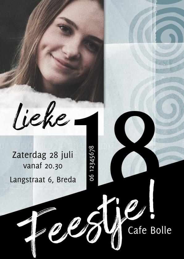 Uitnodigingen - Uitnodiging verjaardag in blauwtinten en zwart
