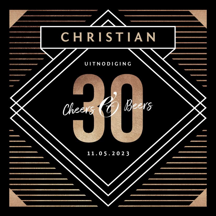 Uitnodigingen - Uitnodiging verjaardag man 30 jaar stijlvol goud