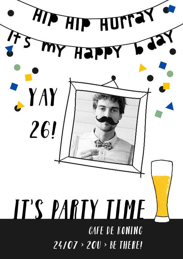 Uitnodigingen - Uitnodiging verjaardag man hip hurray confetti