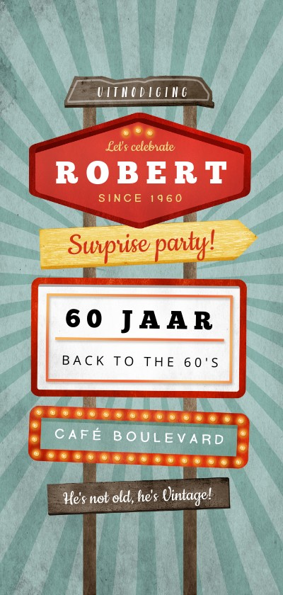 Uitnodigingen - Uitnodiging verjaardag man retro vintage signs