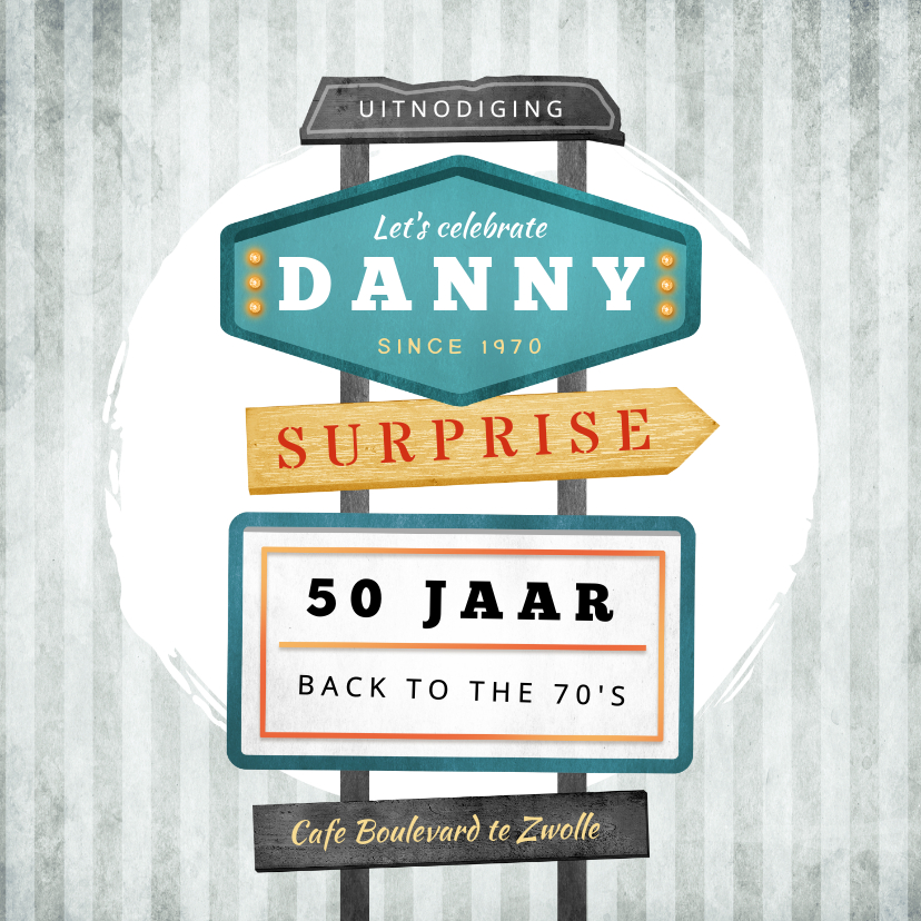 Uitnodigingen - Uitnodiging verjaardag man vintage retro signs