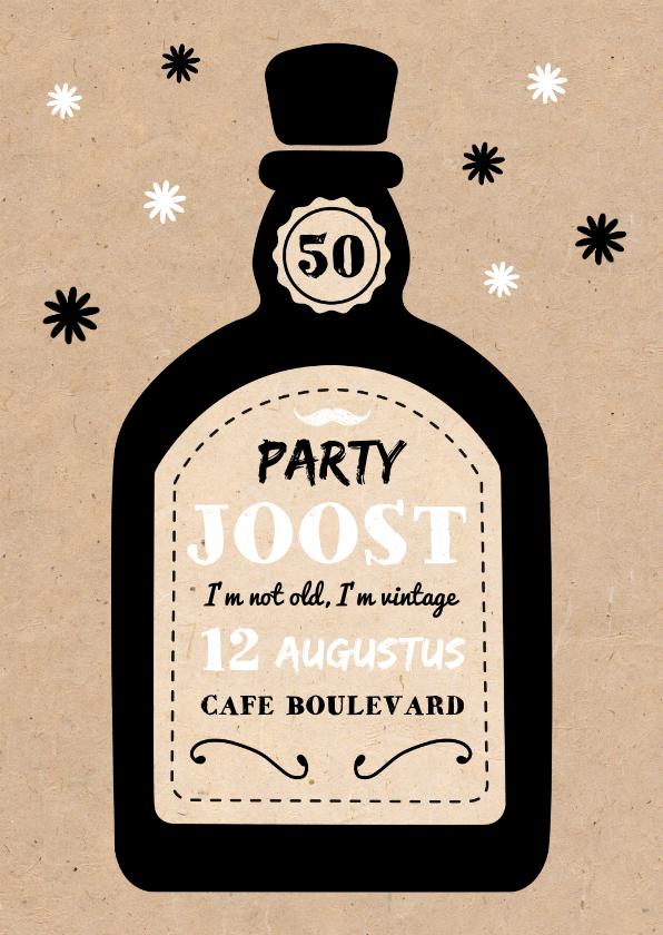 Uitnodigingen - Uitnodiging verjaardag man whiskey kraftlook