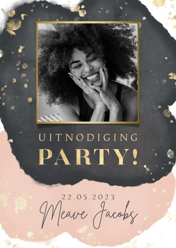 Uitnodigingen - Uitnodiging verjaardag party goud spetters waterverf & foto