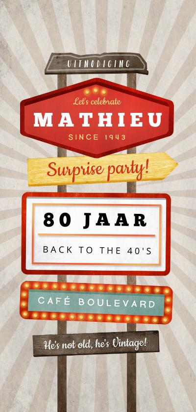 Uitnodigingen - Uitnodiging verjaardag retro vintage man wegwijzers