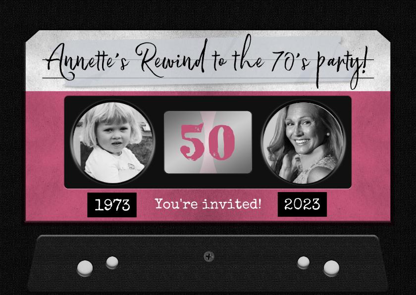 Uitnodigingen - Uitnodiging verjaardag vrouw retro casette muziek
