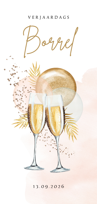 Uitnodigingen - Uitnodiging verjaardagborrel champagne botanisch ballonnen