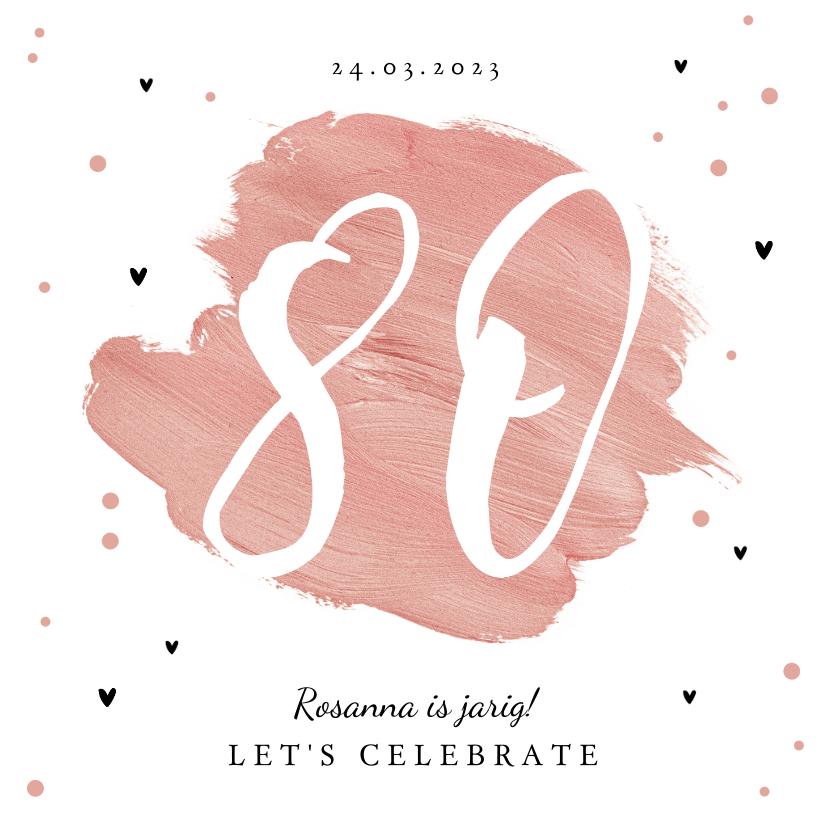Uitnodigingen - Uitnodiging verjaardagsfeest 80 jaar vrouw verf hartjes