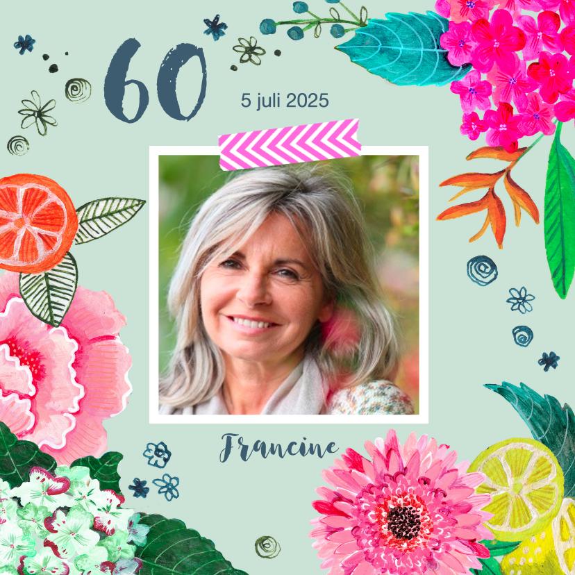 Uitnodigingen - Uitnodiging verjaardagsfeest botanisch bloemen trendy