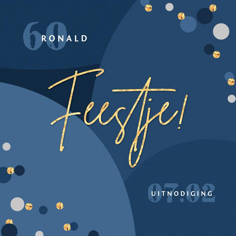 Uitnodigingen - Uitnodiging verjaardagsfeest goud confetti stijlvol
