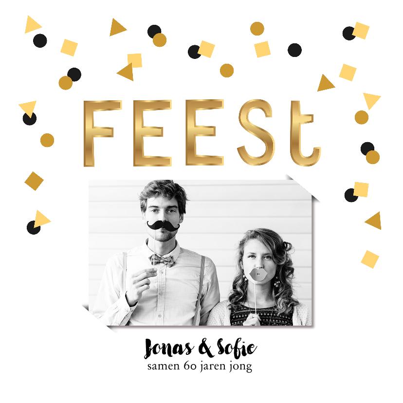 Uitnodigingen - Uitnodiging verjaardagsfeest letter confetti goud