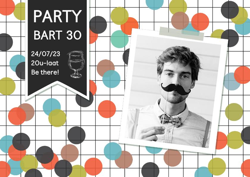 Uitnodigingen - Uitnodiging verjaardagsfeest met eigen foto en confetti