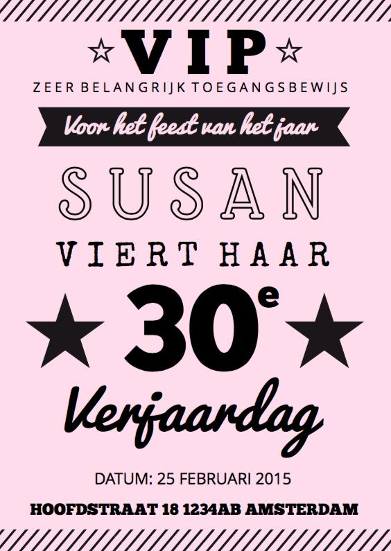 Uitnodigingen - Uitnodiging verjaardagsfeest roze affiche