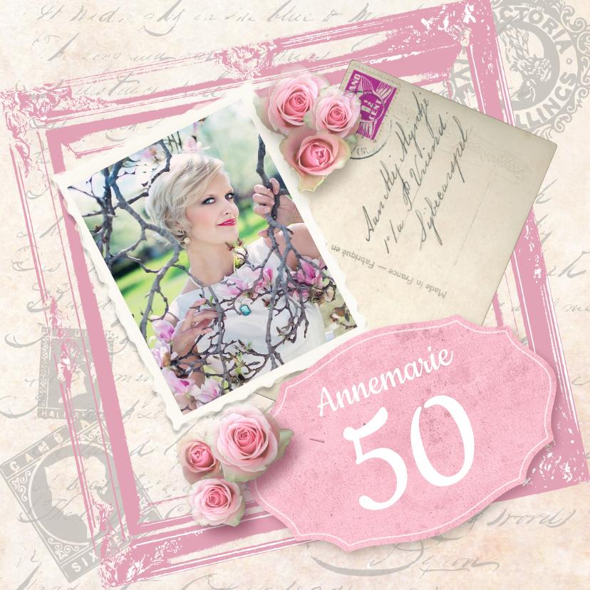 Uitnodigingen - Uitnodiging verjaardagsfeest vrouw foto rozen