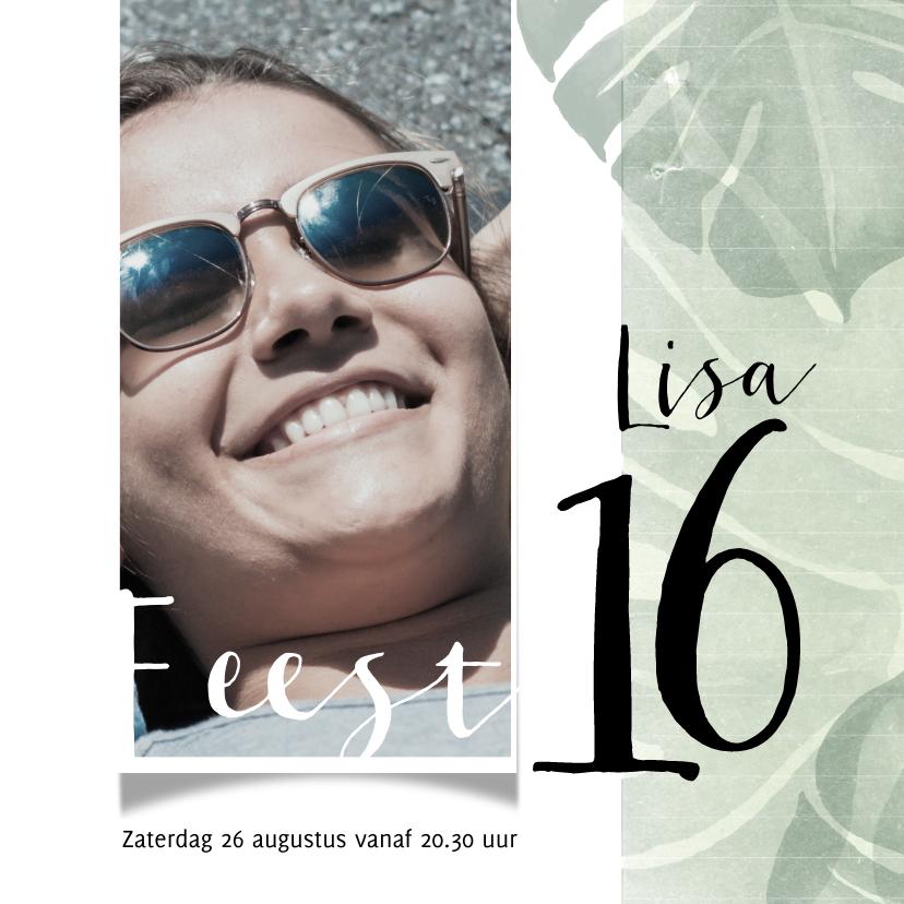 Uitnodigingen - Uitnodiging voor 16e verjaardag met foto
