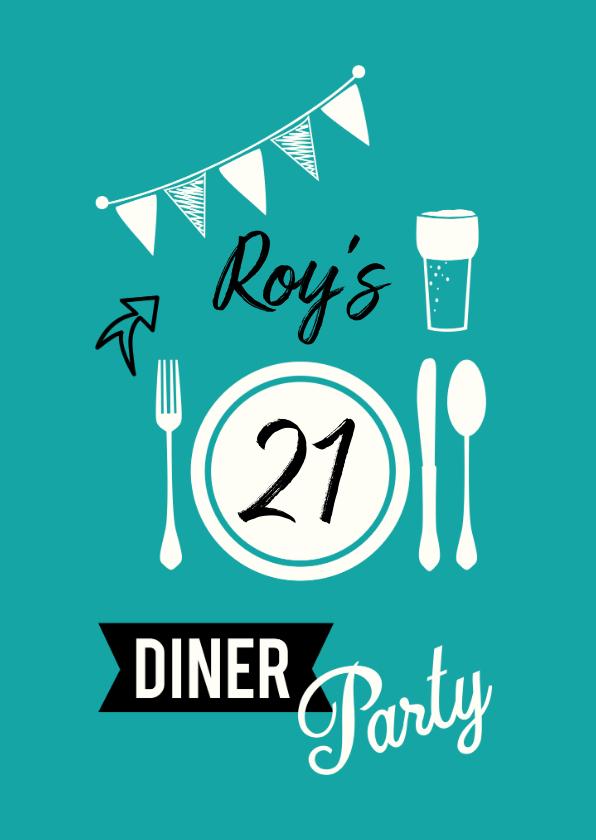 Uitnodigingen - Uitnodiging voor 21 diner party met servies en glas bier