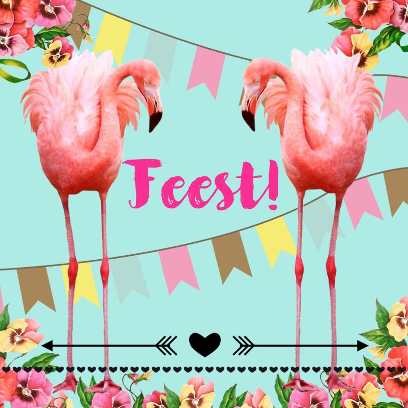 Uitnodigingen - Uitnodiging voor een feestje, hip met flamingo's