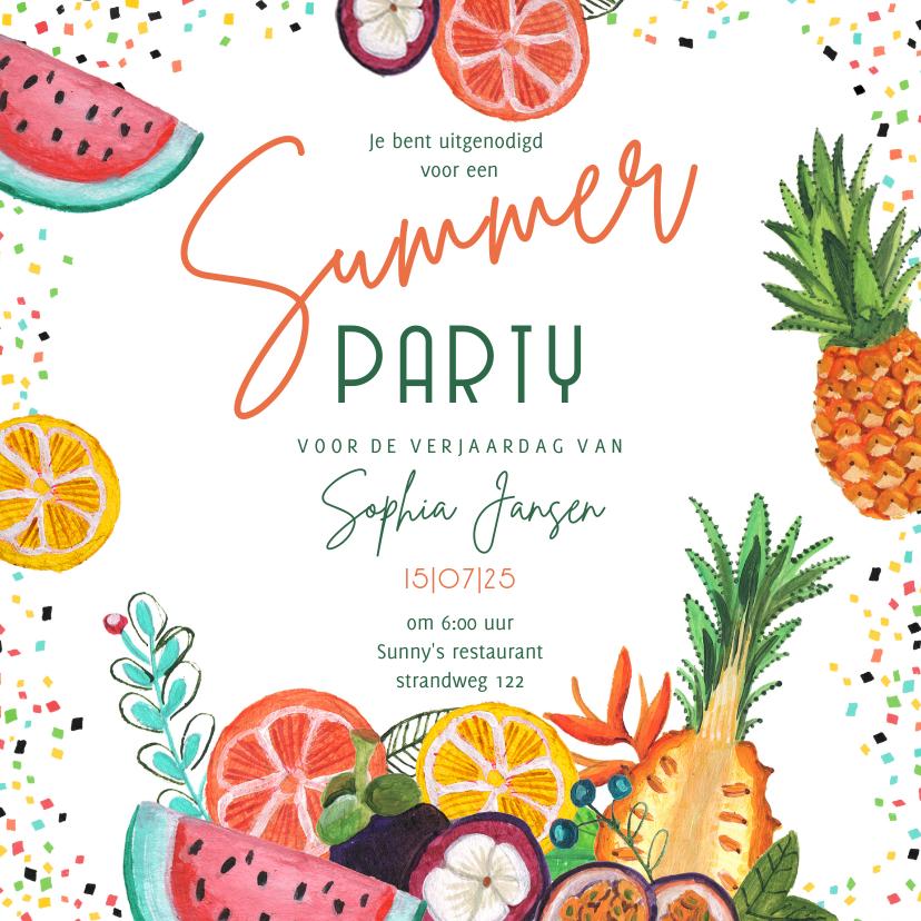 Uitnodigingen - Uitnodiging voor een tropisch zomer feest