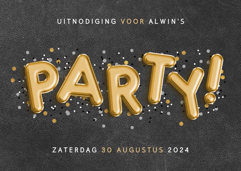 Uitnodigingen - Uitnodiging voor een verjaardag met ballonnen en confetti
