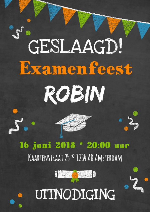 Uitnodigingen - Uitnodiging voor examenfeestje met tekst op krijtbord