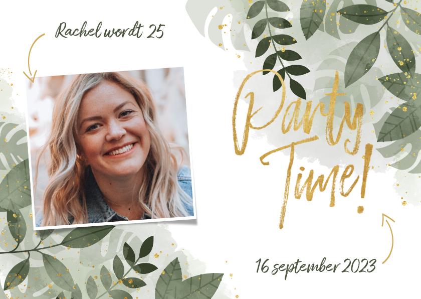 Uitnodigingen - Uitnodiging voor verjaardag botanische print & typografie