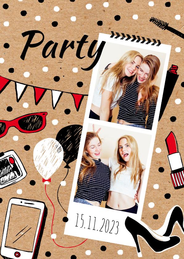 Uitnodigingen - Uitnodiging vriendinnen feestje