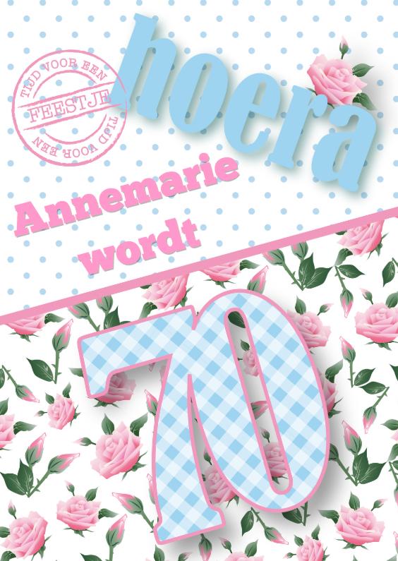 Uitnodigingen - Uitnodiging vrouw 70 rozen lief