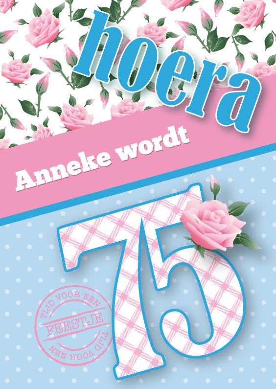 Uitnodigingen - Uitnodiging vrouw 75 lief rozen