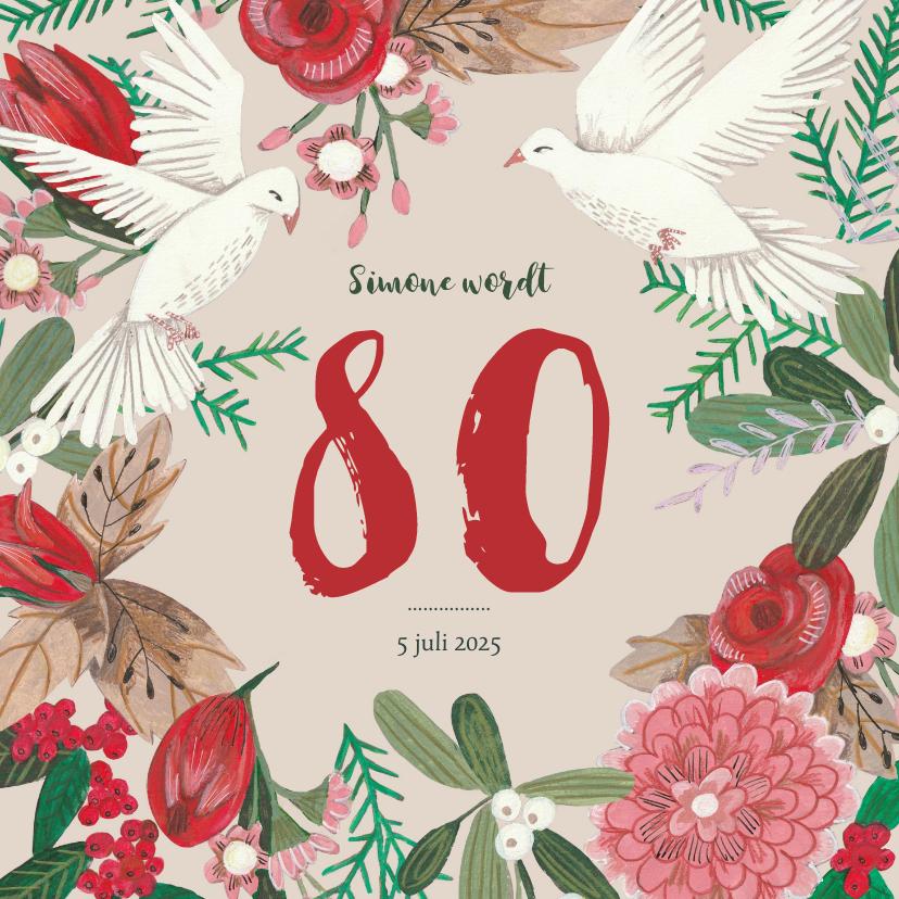 Uitnodigingen - Uitnodiging winter bloemen en duiven