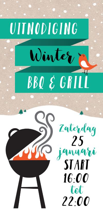 Uitnodigingen - Uitnodiging winter kerst BBQ en Grill nieuwjaarsborrel