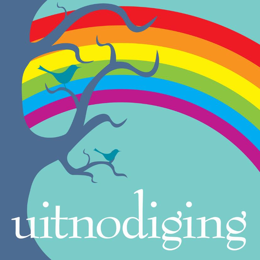 Uitnodigingen - Uitnodigingskaart boom en regenboog