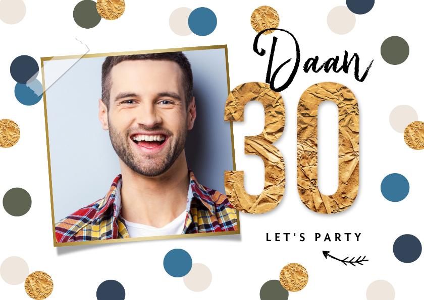 Uitnodigingen - Uitnodigingskaart confetti goud feest 30 foto