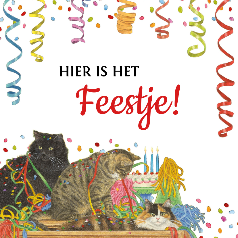 Uitnodigingen - Uitnodigingskaart met feestelijke katten en confetti