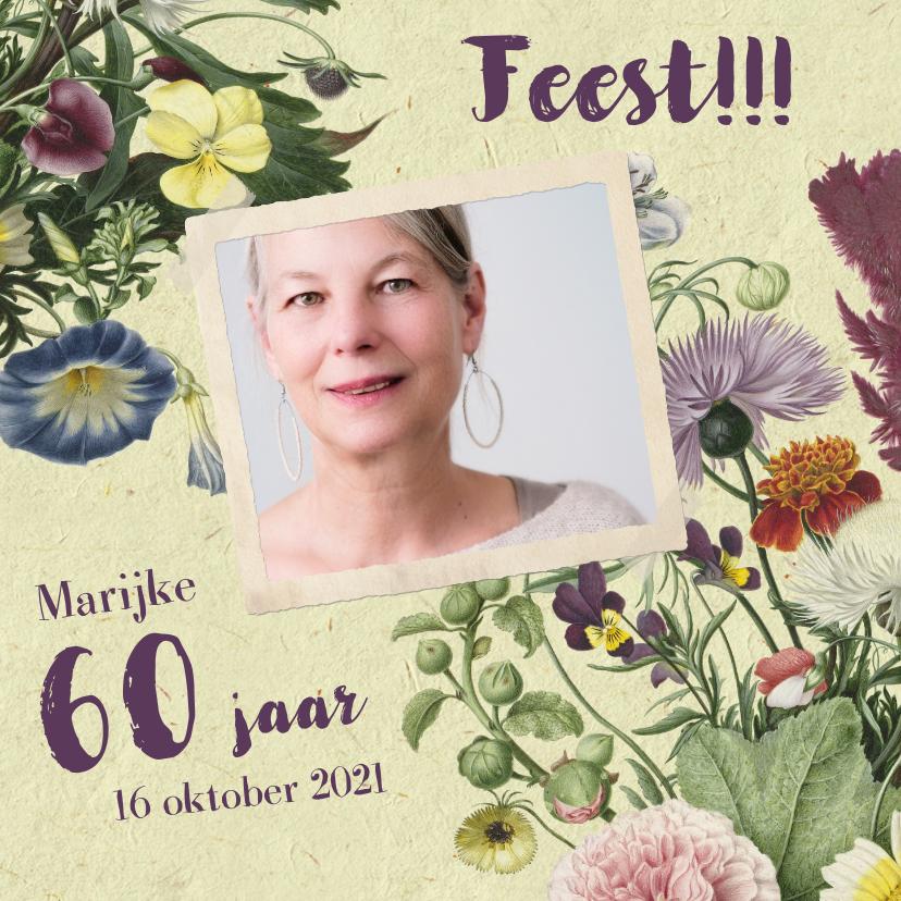 Uitnodigingen - Uitnodigingskaart met stijlvolle bloemenillustratie en foto