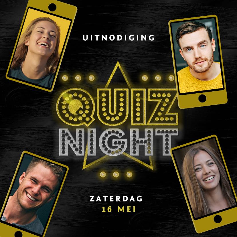 Uitnodigingen - Uitnodigingskaart quiz night mobiel vrienden familie goud