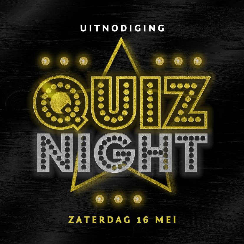 Uitnodigingen - Uitnodigingskaart quiz night vrienden familie goud