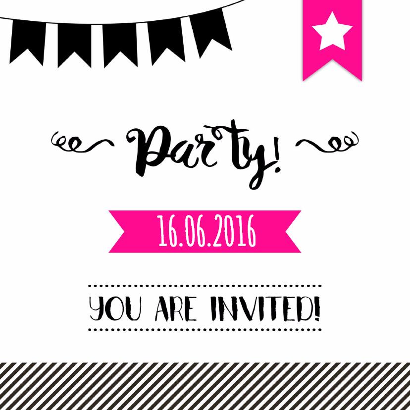 Uitnodigingen - Uitnodigingskaartje Party 2 - WW