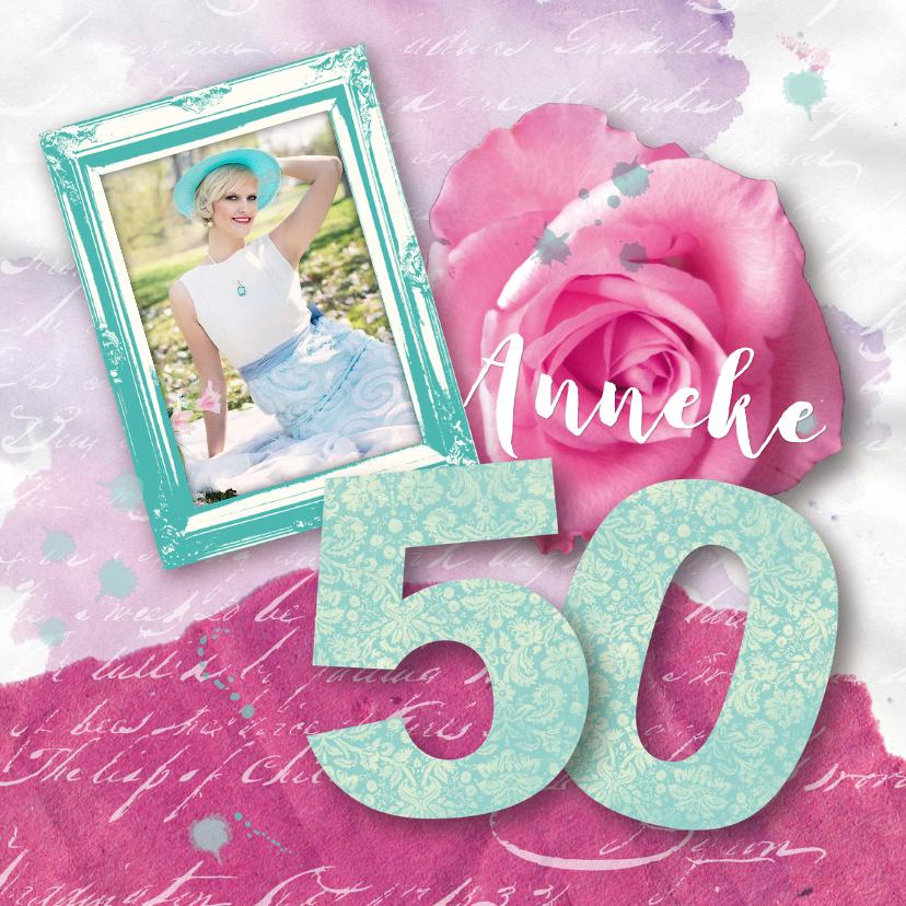 Uitnodigingen - Uitnoding verjaardagsfeest vrouw 50 roos fotolijstje