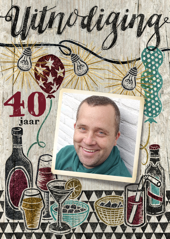 Uitnodigingen - Verjaardag stempel man drank bier