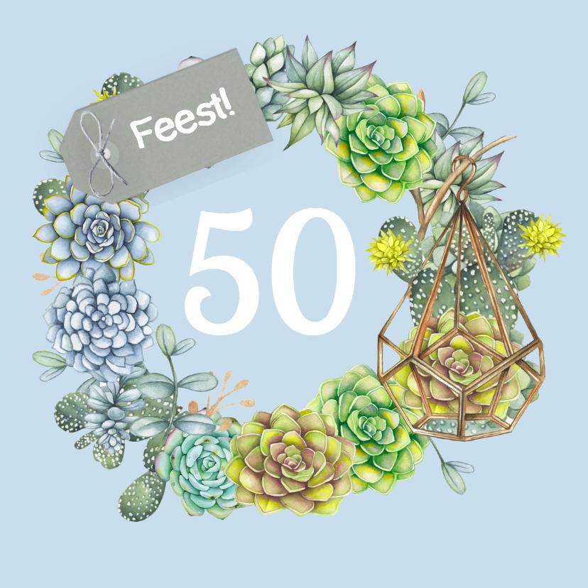 Uitnodigingen - Verjaardag vetplant krans