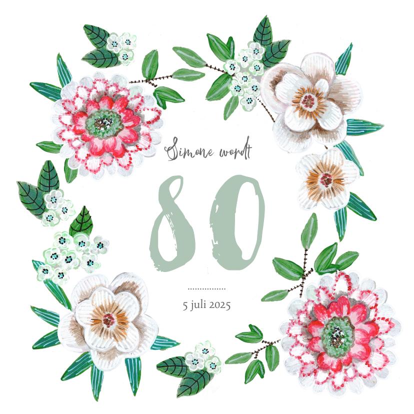 Uitnodigingen - Verjaardagsfeest botanisch bloemen groen, rood en wit