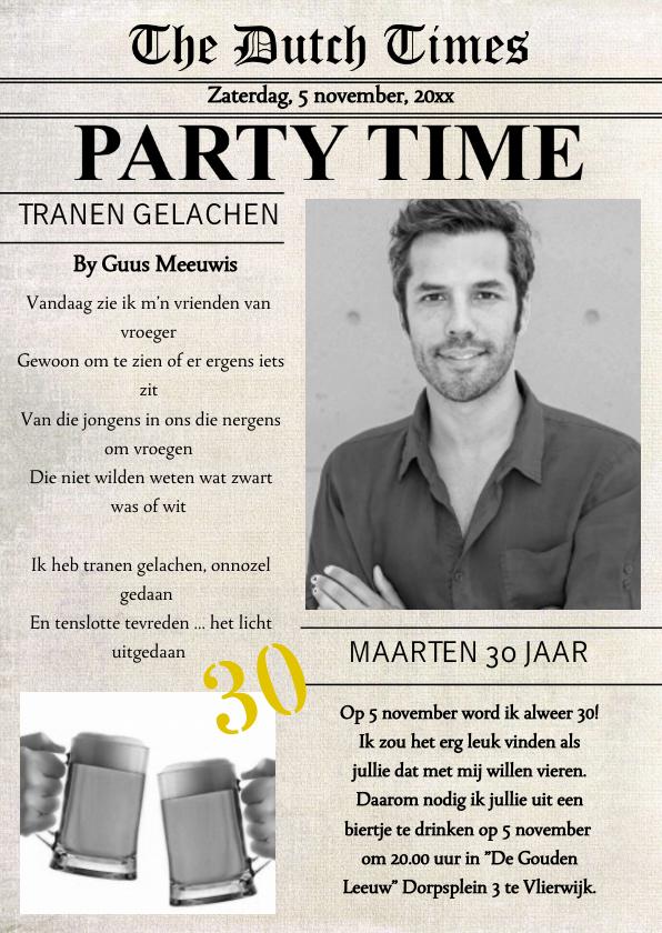 Uitnodigingen - Verjaardagsfeest Krant Feest