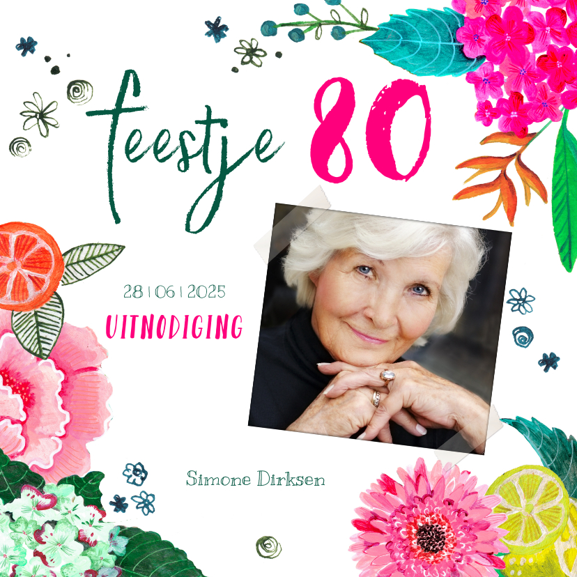 Uitnodigingen - Verjaardagsfeestje botanisch bloemen fel roze