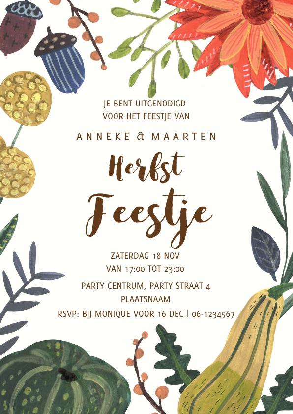 Uitnodigingen - Verjaardagsfeestje botanisch herfst pompoen