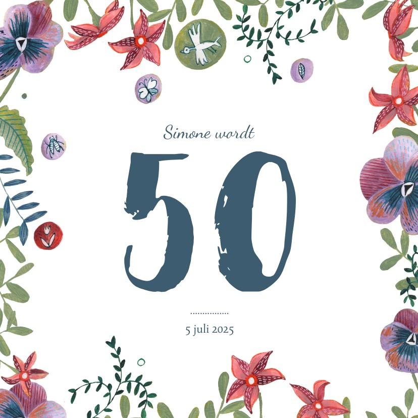 Uitnodigingen - Verjaardagsfeestje uitnodiging bloemen rand