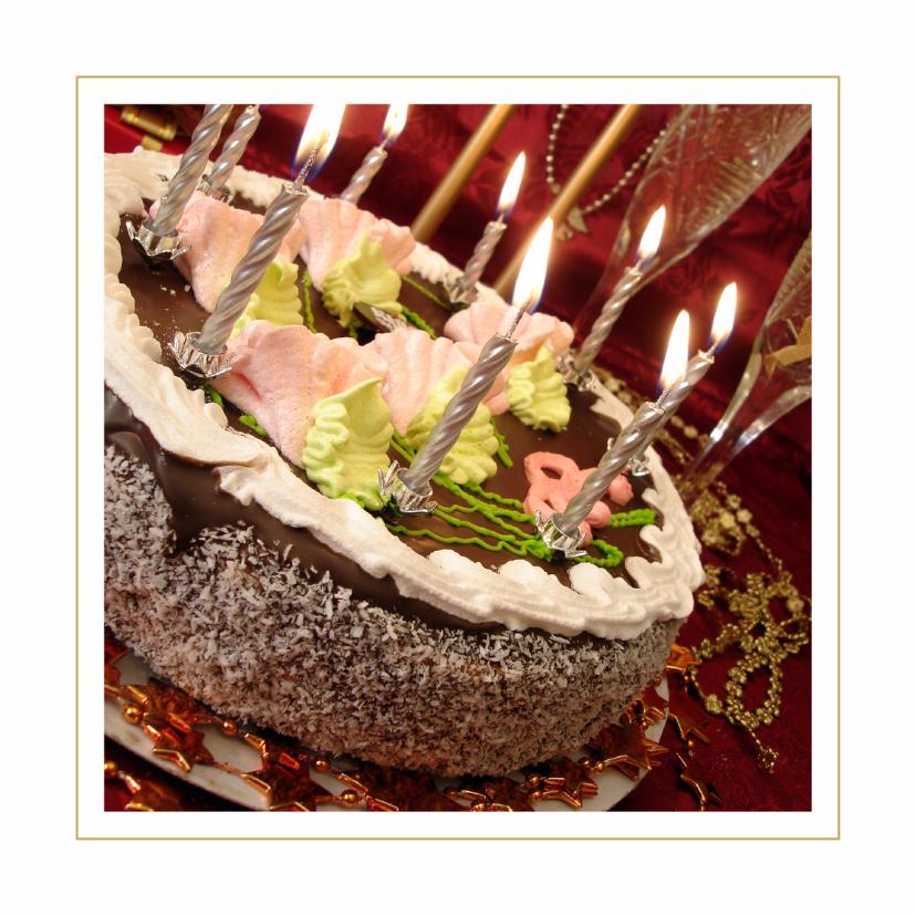 Uitnodigingen - Verjaardagskaart Taart met kaarsjes