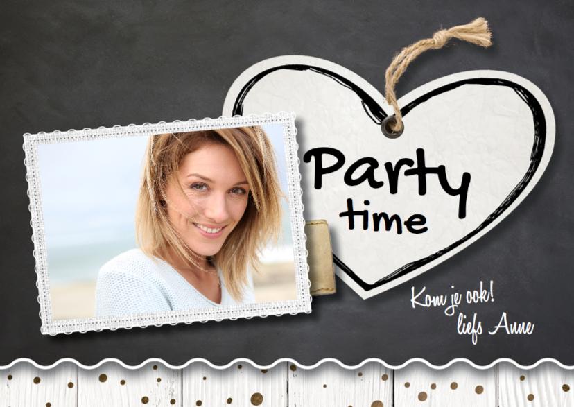Uitnodigingen - Verjaardagsuitnodiging krijtbord-  LO