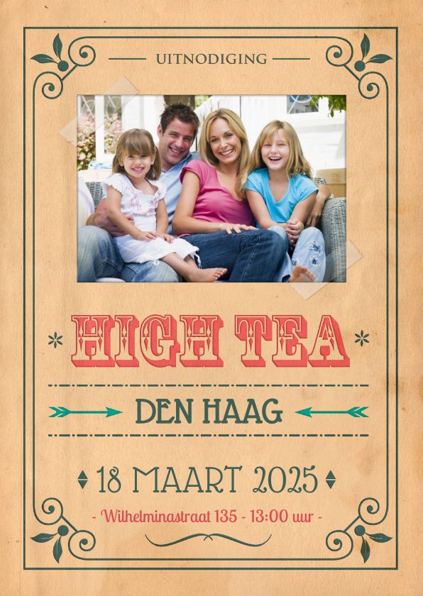 Uitnodigingen - Vintage poster High Tea 1LS3
