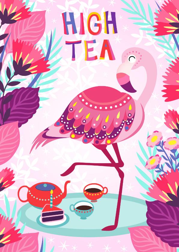 Uitnodigingen - Vrolijke high tea uitnodiging met flamingo, taart en bloemen