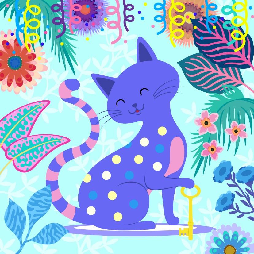 Uitnodigingen - Vrolijke Housewarming uitnodiging met kat en bloemen