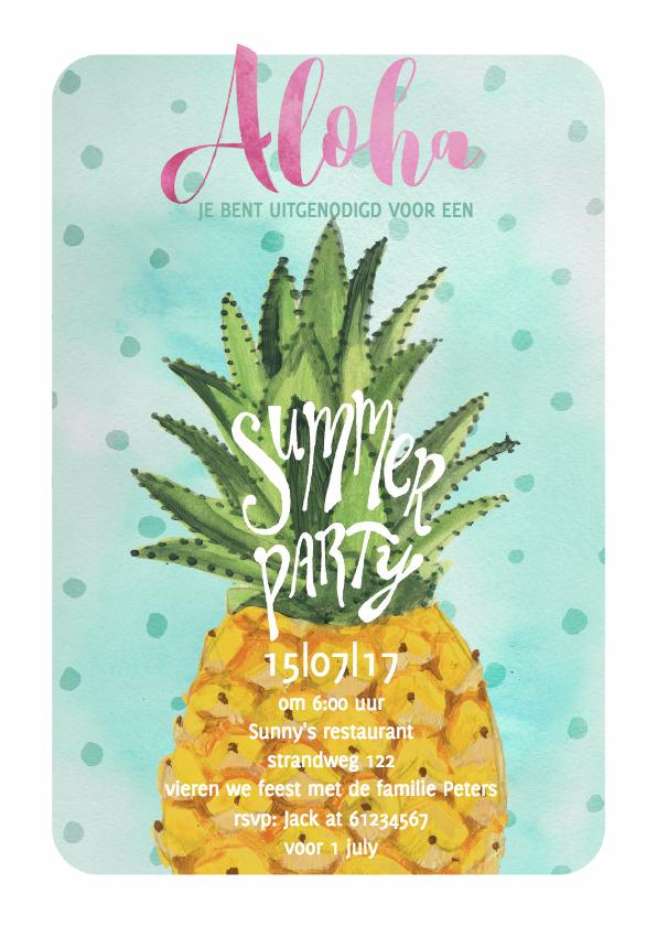 Uitnodigingen - Zomer Strand Tropisch feest